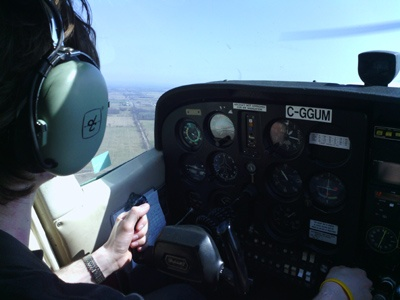 Travis Fergeuson flying the aircraft